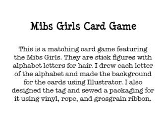 Mibs Girls Card Game